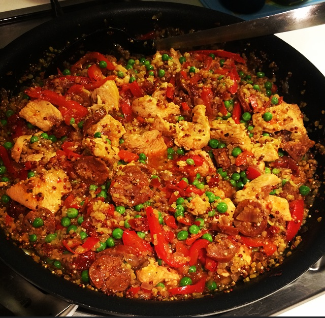 Quinoa Paella With Turkey and Chorizo