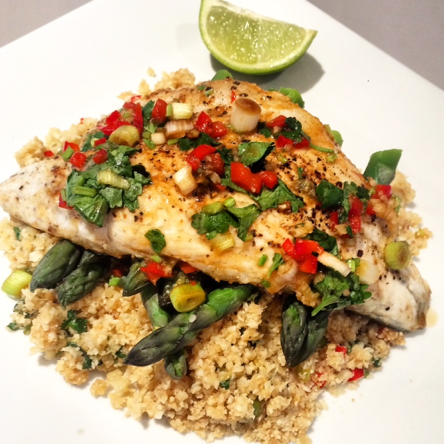 Thai Style Sea Bass with Cauliflower Rice