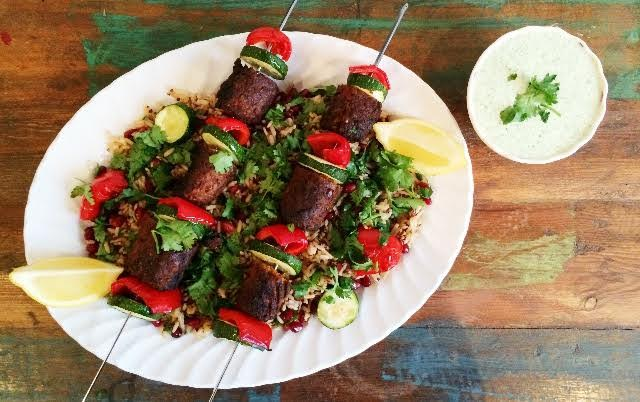 Moroccan Kofta Kebab Skewers On A Bed of Jewelled Quinoa/Brown Rice And Yogurt Dip (Meat-Free)