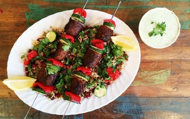 Moroccan Kofta Kebab Skewers On A Bed of Jewelled Quinoa/Brown Rice And Yogurt Dip(Meat-Free)